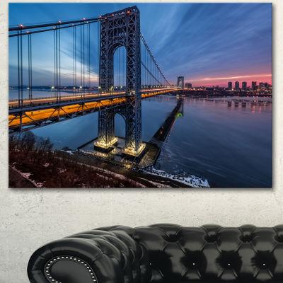Designart George Washington Bridge Large CityscapeArt Print On Canvas - 3 Panels