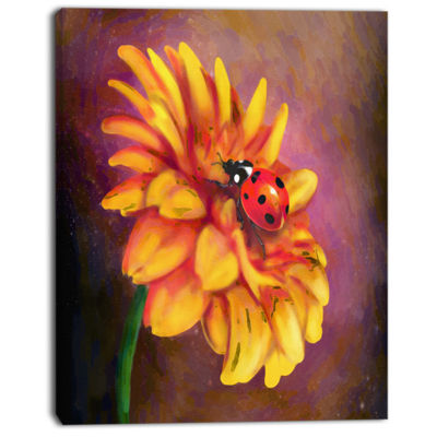 Designart Gerber And Ladybird Watercolor Floral Canvas Art Print