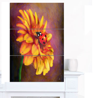 Designart Gerber And Ladybird Watercolor Floral Canvas Art Print - 3 Panels