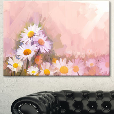 Designart Gerbera Flowers On Soft Color Back Floral Canvas Art Print - 3 Panels