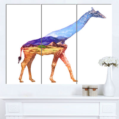Designart Giraffe Double Exposure Illustration Large Animal Canvas Art Print - 3 Panels