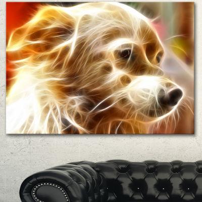 Designart Glowing Brown Dog Head Animal Canvas Wall Art