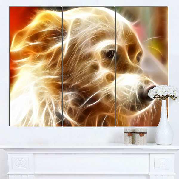 Design Art Glowing Brown Dog Head Animal Canvas Wall Art - 3 Panels