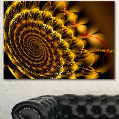 Designart Golden Abstract Spiral Flower OversizedAbstract Canvas Art - 3 Panels