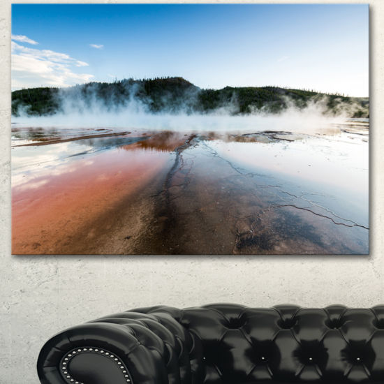 Designart Grand Prismatic Spring At Sunset Seashore Canvas Art Print