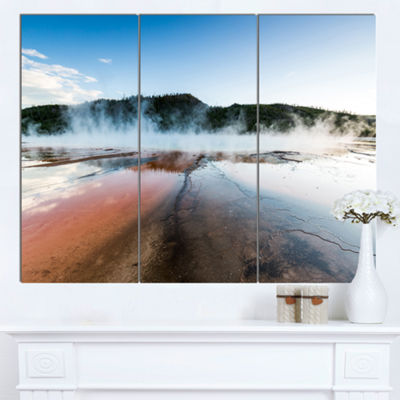 Designart Grand Prismatic Spring At Sunset Seashore Canvas Art Print - 3 Panels