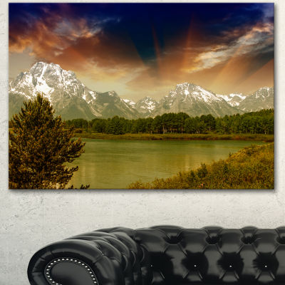 Design Art Grand Teton National Park Extra Large Landscape Canvas Art Print - 3 Panels