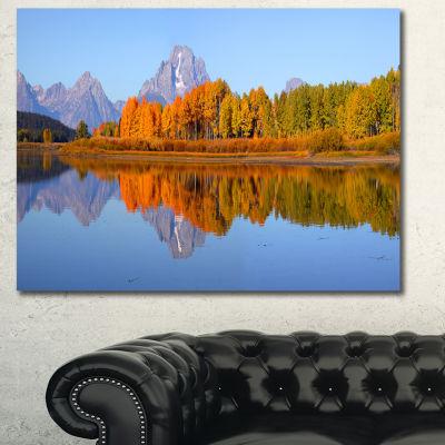 Designart Grand Tetons Panorama Large Landscape Canvas Art Print - 3 Panels