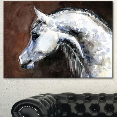 Designart Gray Arabian Horse Watercolor AbstractCanvas Art Print