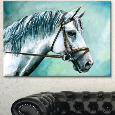 Designart Gray Horse On Blue Background Animal Canvas Art Print