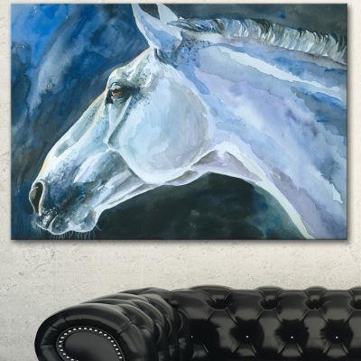 Designart Gray Horse Watercolor Abstract Canvas Art Print - 3 Panels