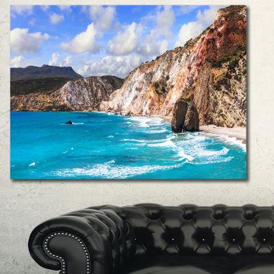 Designart Greek Islands Scenic Beaches LandscapeCanvas Art Print - 3 Panels
