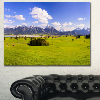 Designart Green Bavaria Field Panorama LandscapeCanvas Art Print - 3 Panels