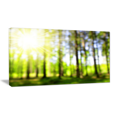 Designart Green Bokeh In The Forest Landscape Canvas Art Print
