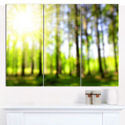 Design Art Green Bokeh In The Forest Landscape Canvas Art Print - 3 Panels