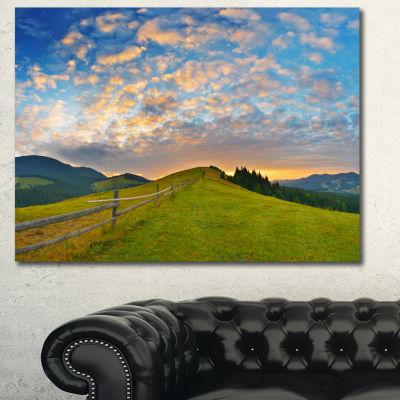 Design Art Green Evening Countryside Landscape Canvas Art Print - 3 Panels