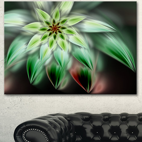 Design Art Green Flower Fractal Artwork Floral Canvas Art Print