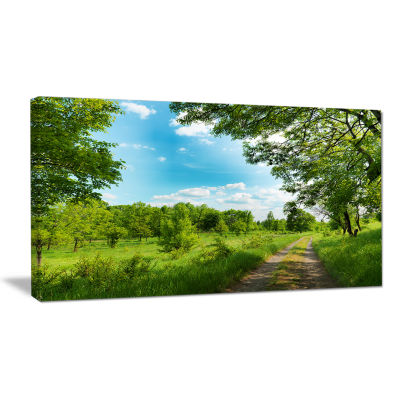 Designart Green Forest Road And Blue Sky Modern Landscape Canvas Art