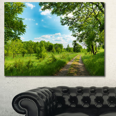 Designart Green Forest Road And Blue Sky Modern Landscape Canvas Art - 3 Panels