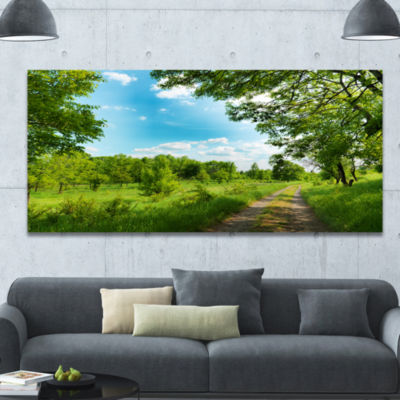 Designart Green Forest Watercolor Drawing Large Landscape Canvas Art