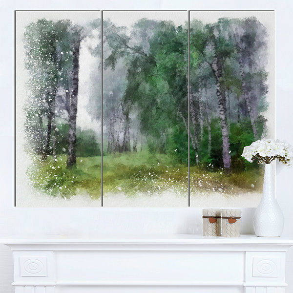 Design Art Green Forest Watercolor Drawing Large Landscape Canvas Art - 3 Panels