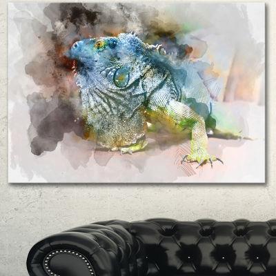 Designart Green Iguana Close Up Painting Large Abstract Canvas Artwork