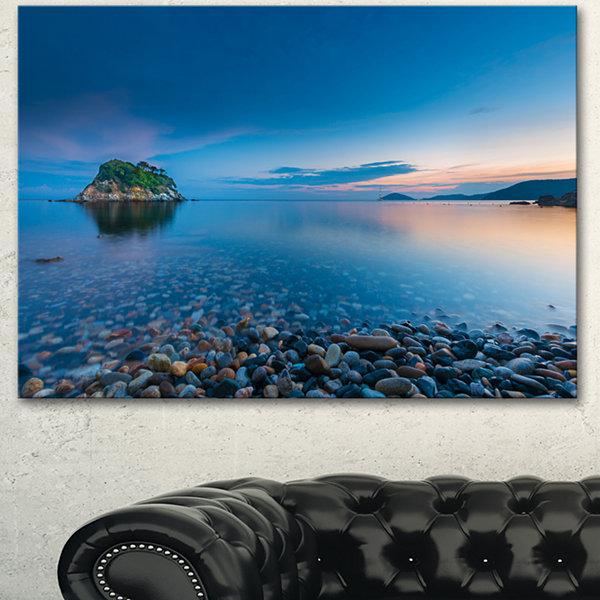 Design Art Green Isle At Stony Coast Large SeashoreCanvas Wall Art - 3 Panels