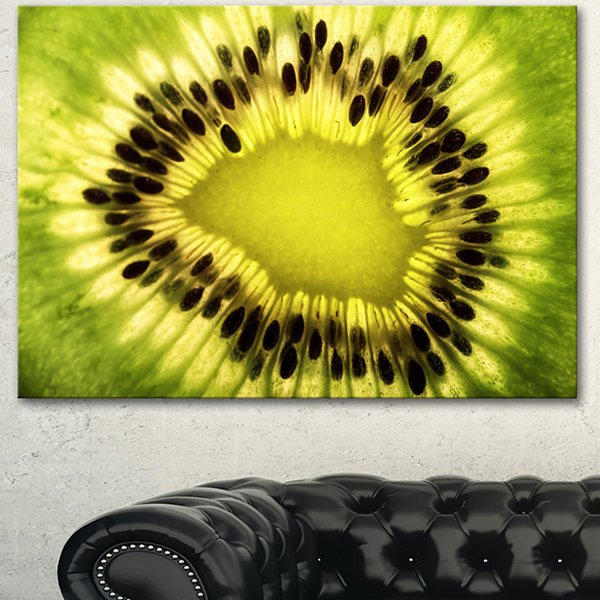 Design Art Green Kiwi Seeds And Inside Pattern Contemporary Canvas Art Print