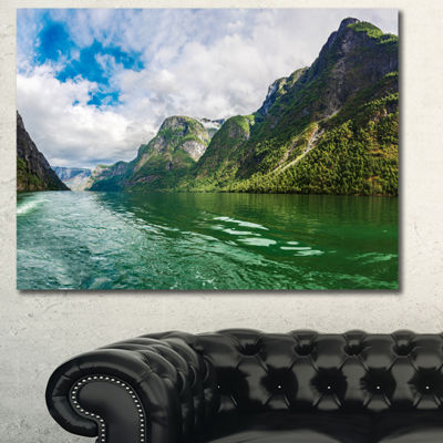 Designart Green Lake Sognefjord Norway LandscapeCanvas Art Print - 3 Panels