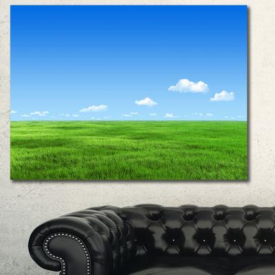 Designart Green Meadow And Blue Sky Landscape Canvas Art Print