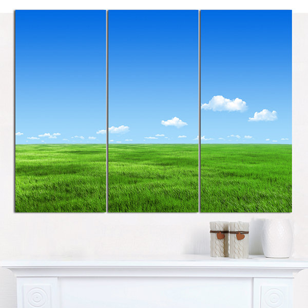 Designart Green Meadow And Blue Sky Landscape Canvas Art Print - 3 Panels
