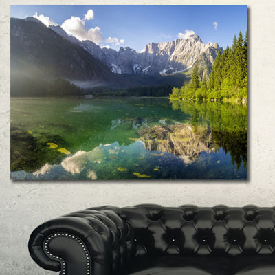 Designart Green Mountain Lake In The Alps Landscape Canvas Art Print - 3 Panels