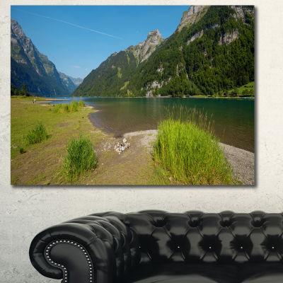 Designart Green Mountain Landscape View LandscapeCanvas Art Print - 3 Panels