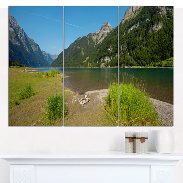 Design Art Green Mountain Landscape View LandscapeCanvas Art Print - 3 Panels
