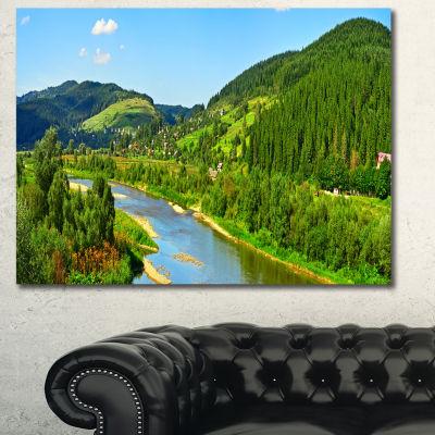 Designart Green Mountains And River Landscape Canvas Art Print - 3 Panels
