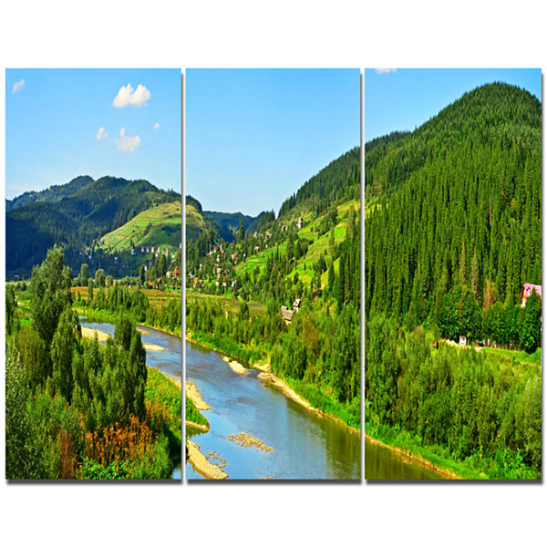 Design Art Green Mountains And River Landscape Canvas Art Print - 3 Panels