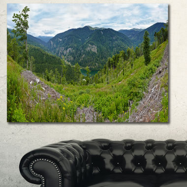 Designart Green Mountains Panorama Landscape Canvas Art Print