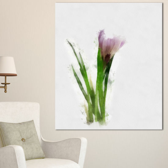 Designart Green Purple Watercolor Flower Sketch Floral Canvas Art Print