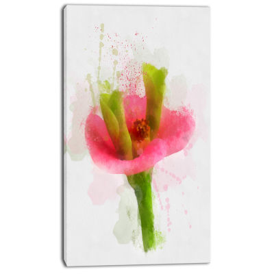 Designart Green Red Flower Sketch Watercolor Floral Canvas Art Print