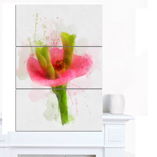 Designart Green Red Flower Sketch Watercolor Floral Canvas Art Print - 3 Panels