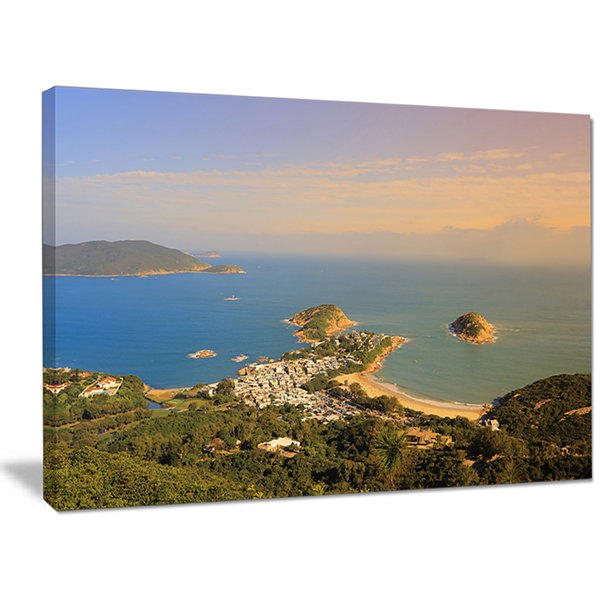 Designart Green Tropical Hiking Route Seashore Wall Art On Canvas