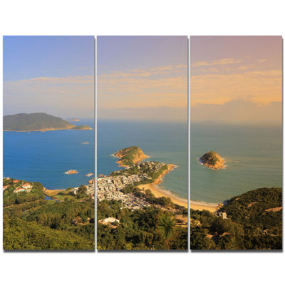 Designart Green Tropical Hiking Route Seashore Wall Art On Canvas - 3 Panels