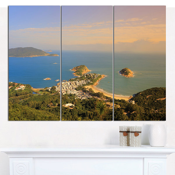 Design Art Green Tropical Hiking Route Seashore Wall Art On Canvas - 3 Panels