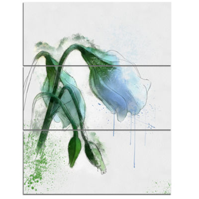 Designart Green Tulip Sketch Watercolor Floral Canvas Art Print - 3 Panels