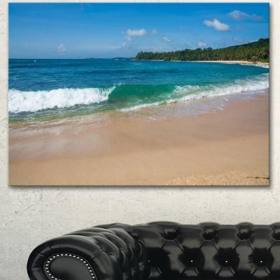 Designart Green Wave On Sandy Paradise Beach Modern Seashore Canvas Art - 3 Panels
