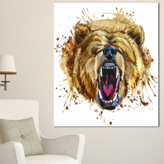 Designart Growling Grizzly Bear Watercolor Abstract Canvas Art Print