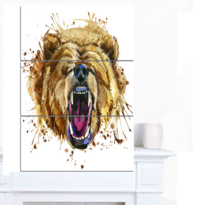 Designart Growling Grizzly Bear Watercolor Abstract Canvas Art Print - 3 Panels