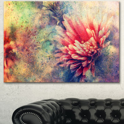 Designart Grunge Art With Flower And Splashes Flower Artwork On Canvas