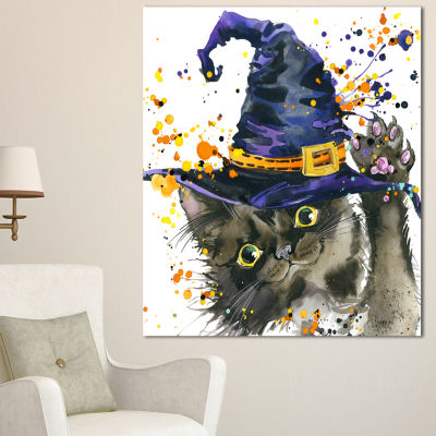 Designart Halloween Cat And Witch Hat ContemporaryAnimal Art Canvas - 3 Panels