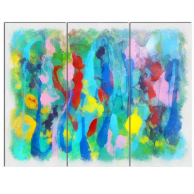 Designart Hand Drawn Multi Color Floral Pattern Large Abstract Canvas Wall Art - 3 Panels
